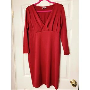 ASOS Wine Red Pleated Long-sleeve Bodycon Dress